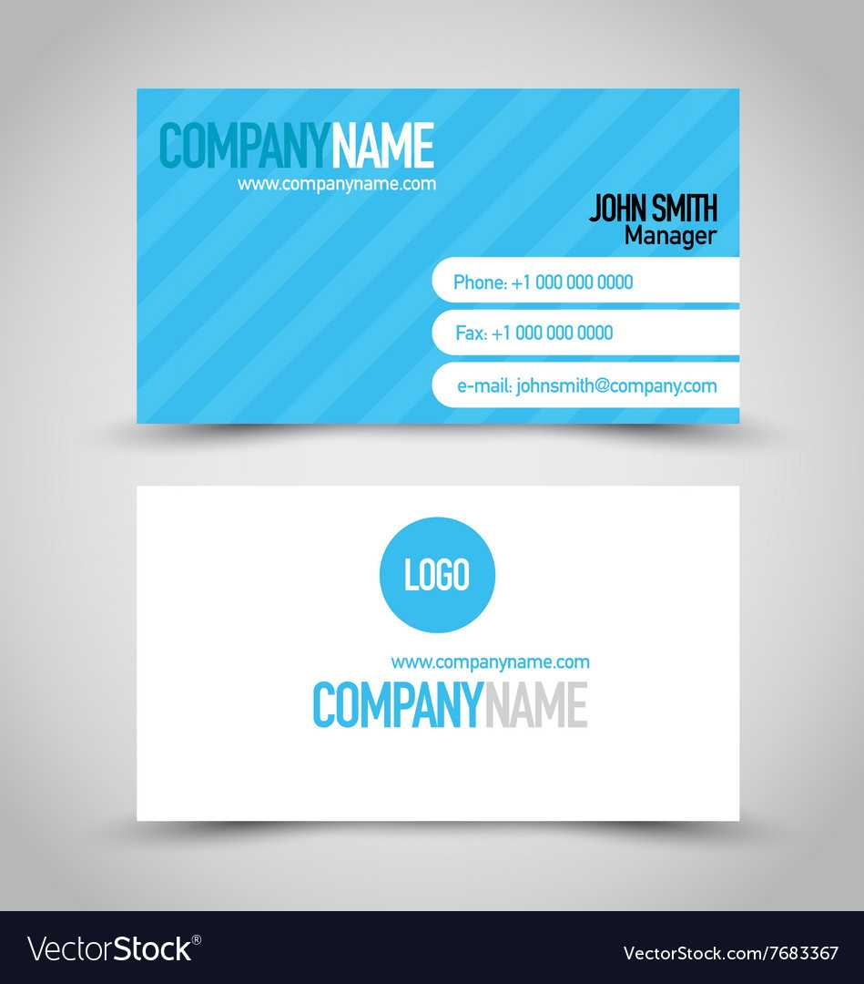 Business Card Set Template Blue And White Color Within Template For Calling Card