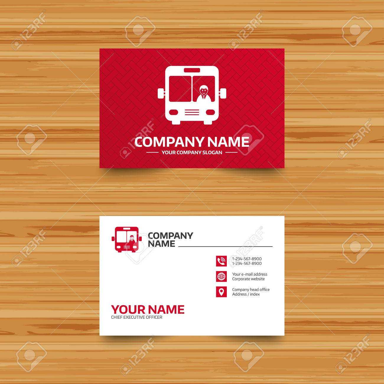 Business Card Template. Bus Sign Icon. Public Transport With.. For Transport Business Cards Templates Free