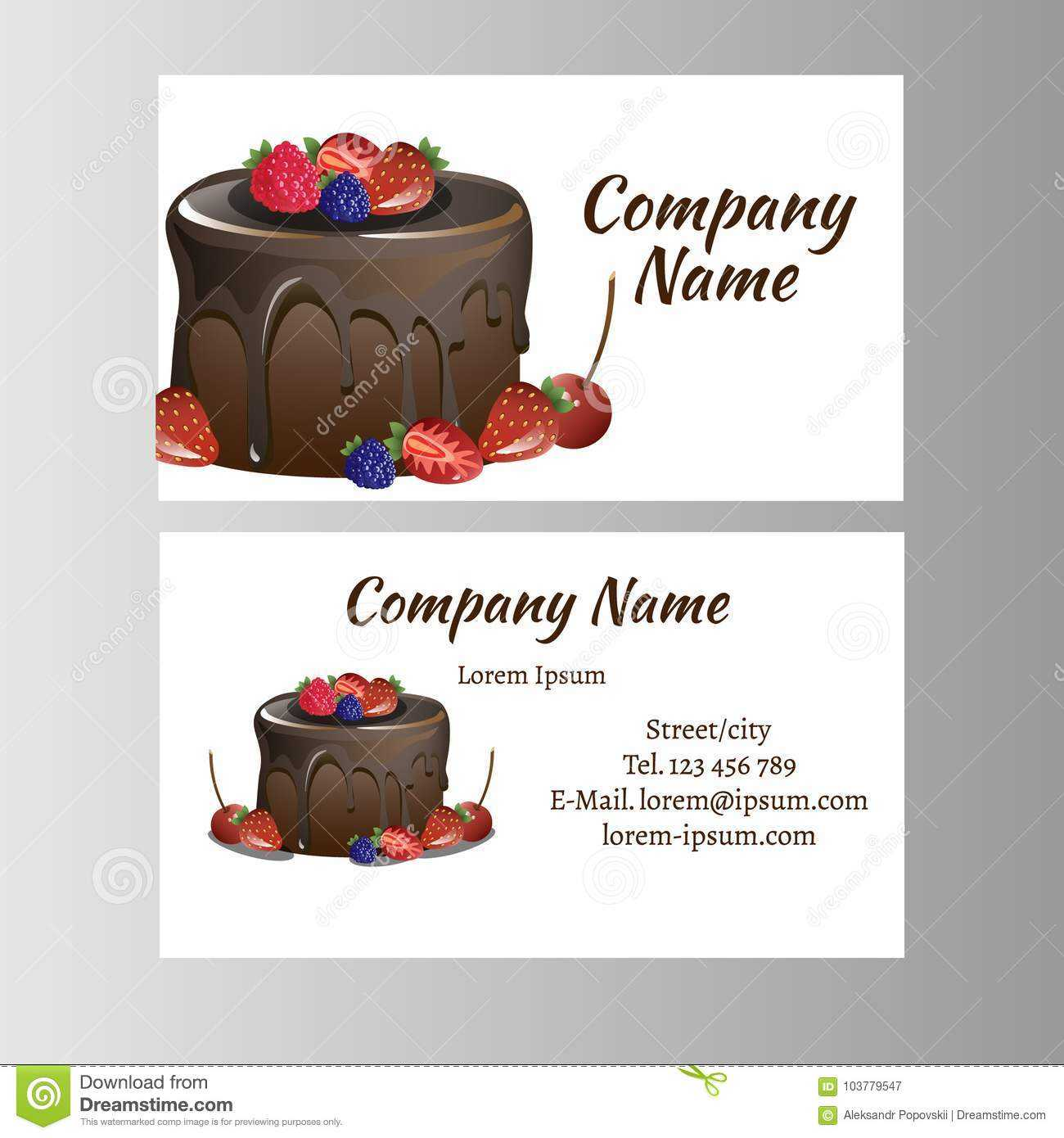 Business Card Template For Bakery Business. Stock Vector In Cake Business Cards Templates Free