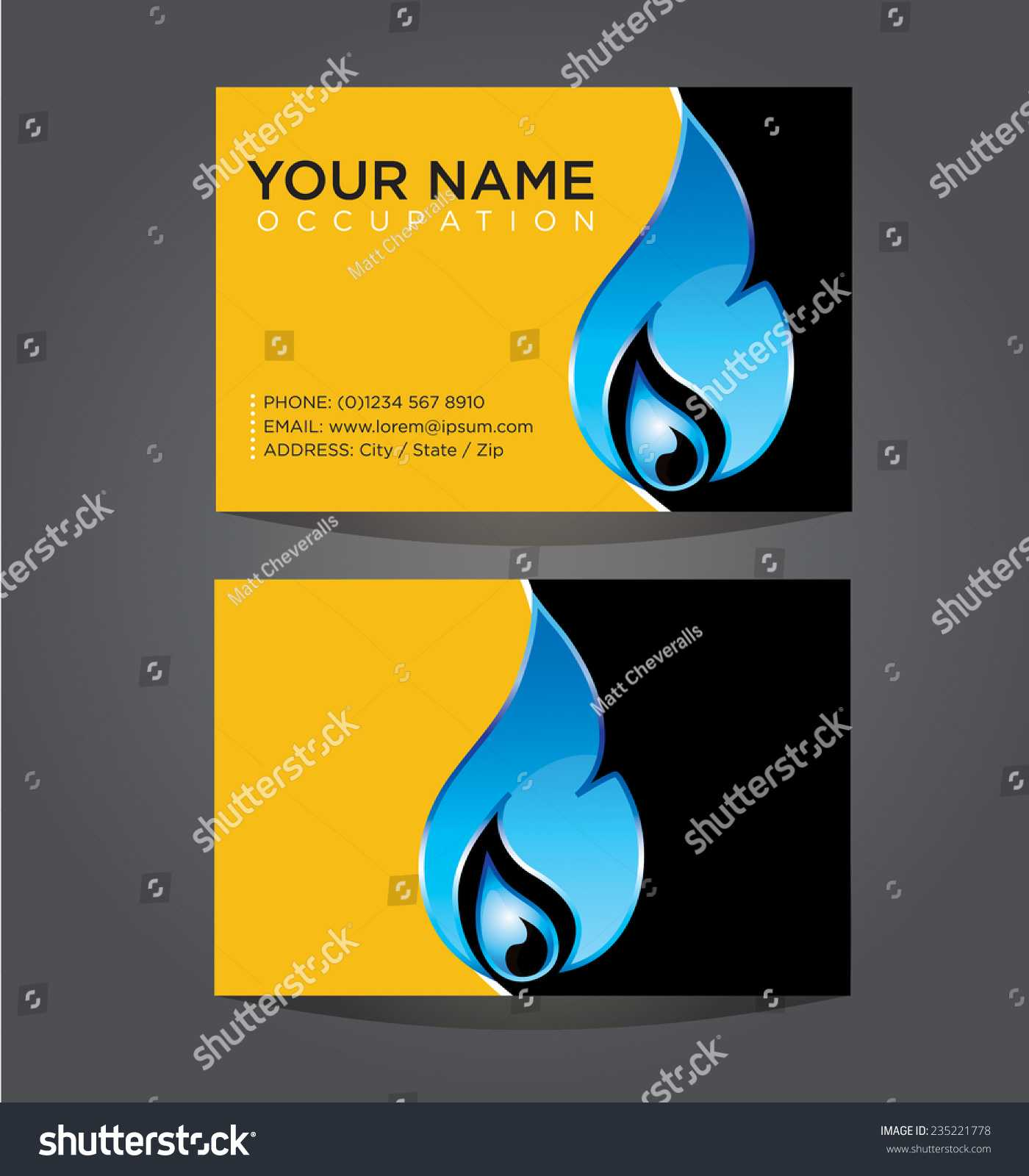 Business Card Template Plumbing Heating Air Stock Vector Throughout Hvac Business Card Template