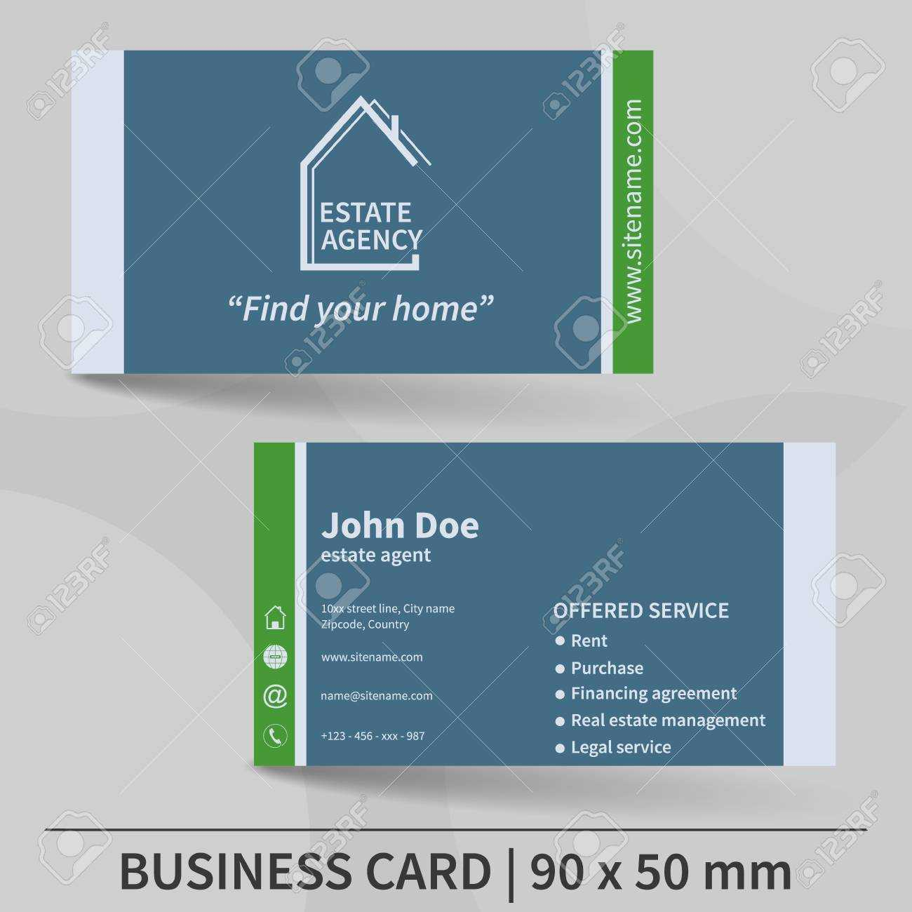 Business Card Template. Real Estate Agency. Design For Your Individual.. Intended For Real Estate Agent Business Card Template