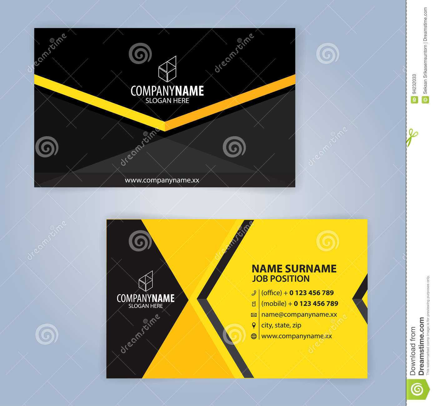 Business Card Template. Yellow And Black Stock Vector Intended For Template For Calling Card
