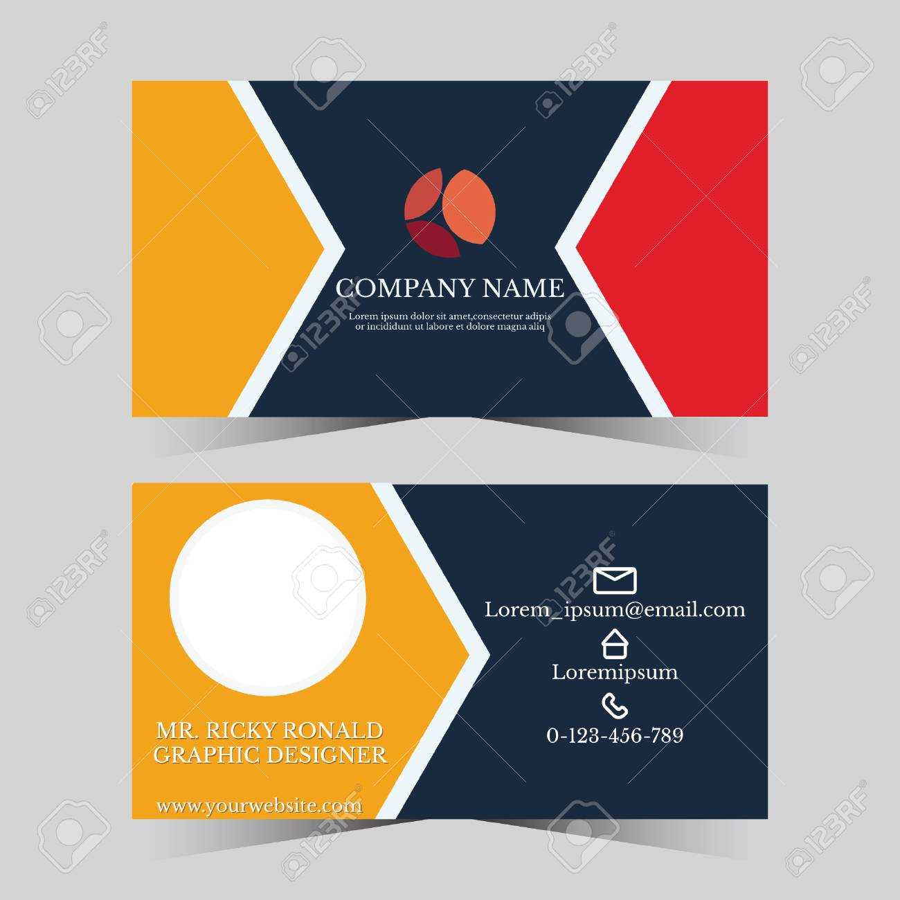 Calling Card Template For Business Man With Geometric Design Regarding Template For Calling Card