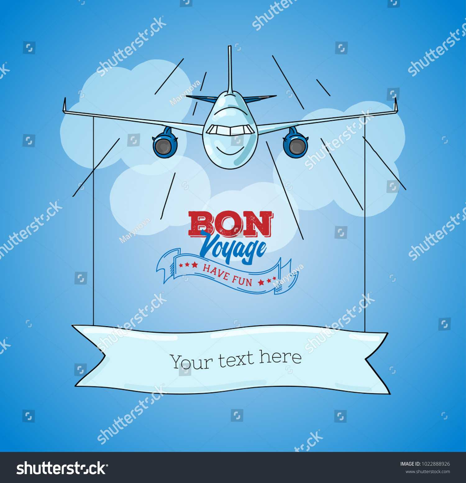 Card Template Plane Graphic Illustration On Stock Vector Pertaining To Bon Voyage Card Template