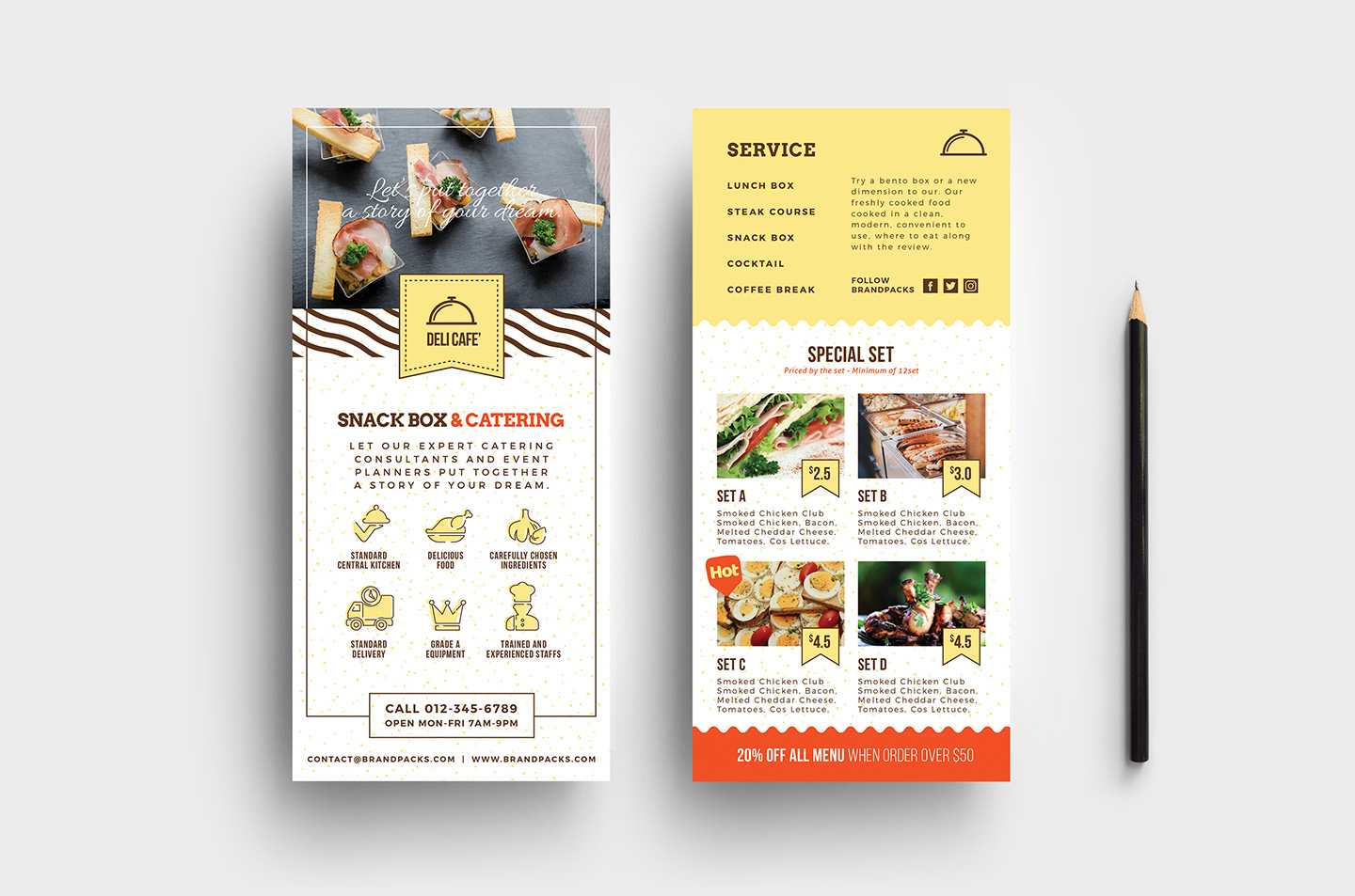 Catering Service Dl Card Template - Psd, Ai & Vector Within Dl Card Template