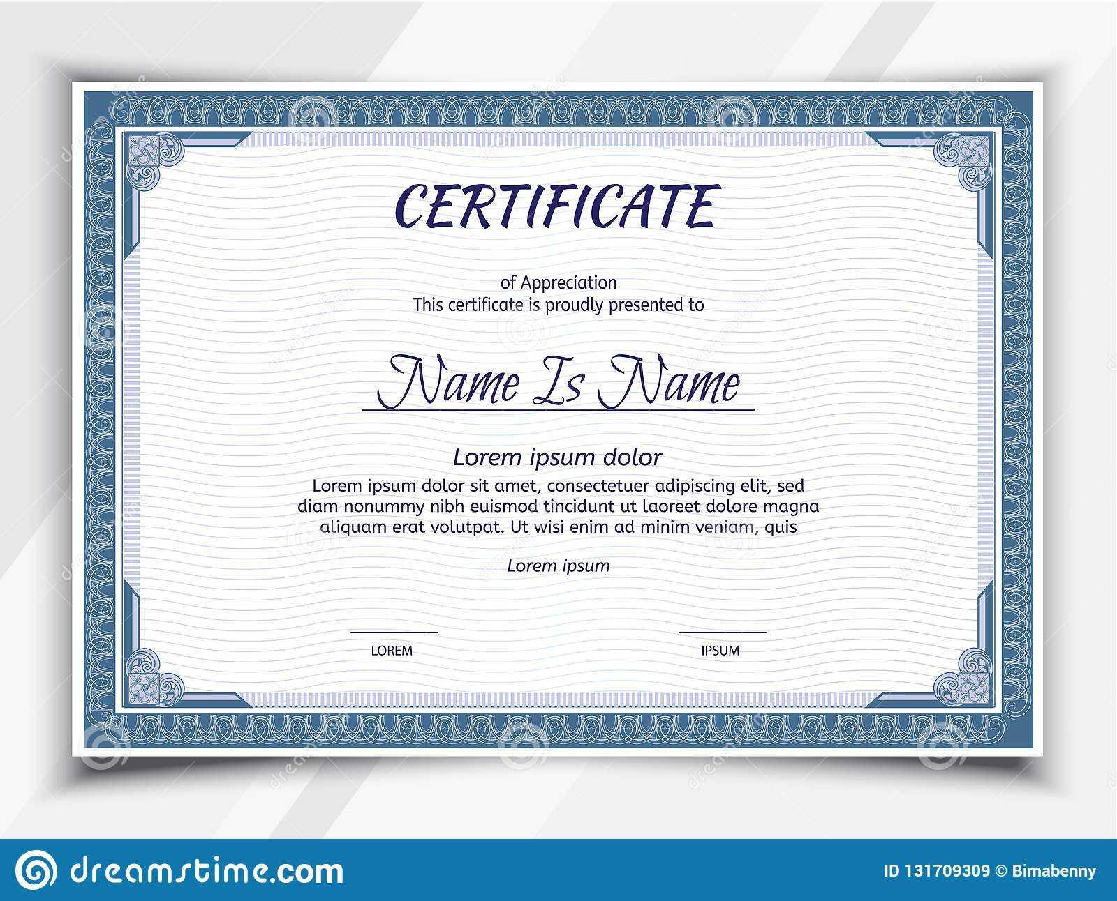 Certificate Landscape Template Stock Vector - Illustration With Regard To Landscape Certificate Templates