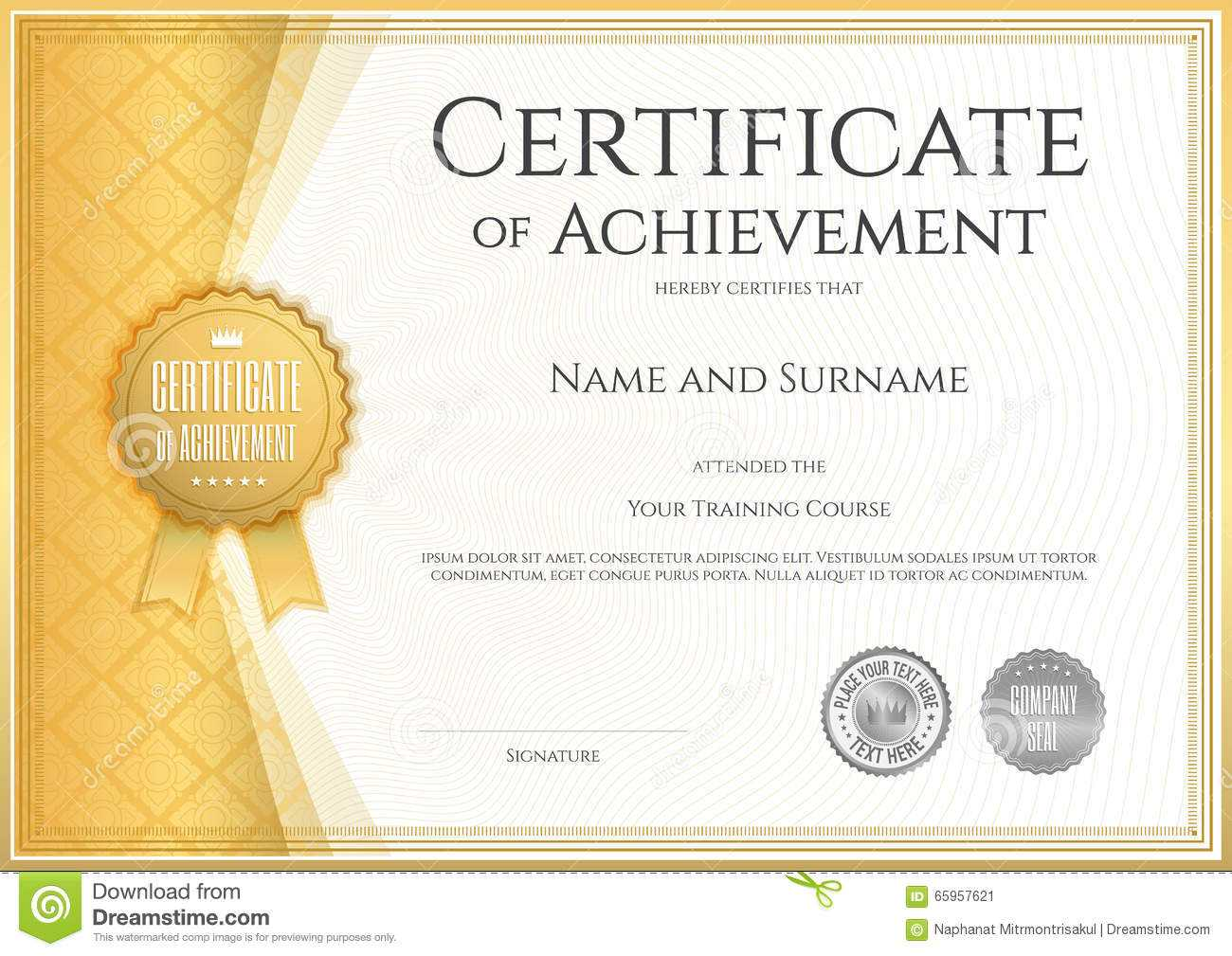 Certificate Of Achievement Template In Vector Stock Vector Regarding Certificate Of Accomplishment Template Free