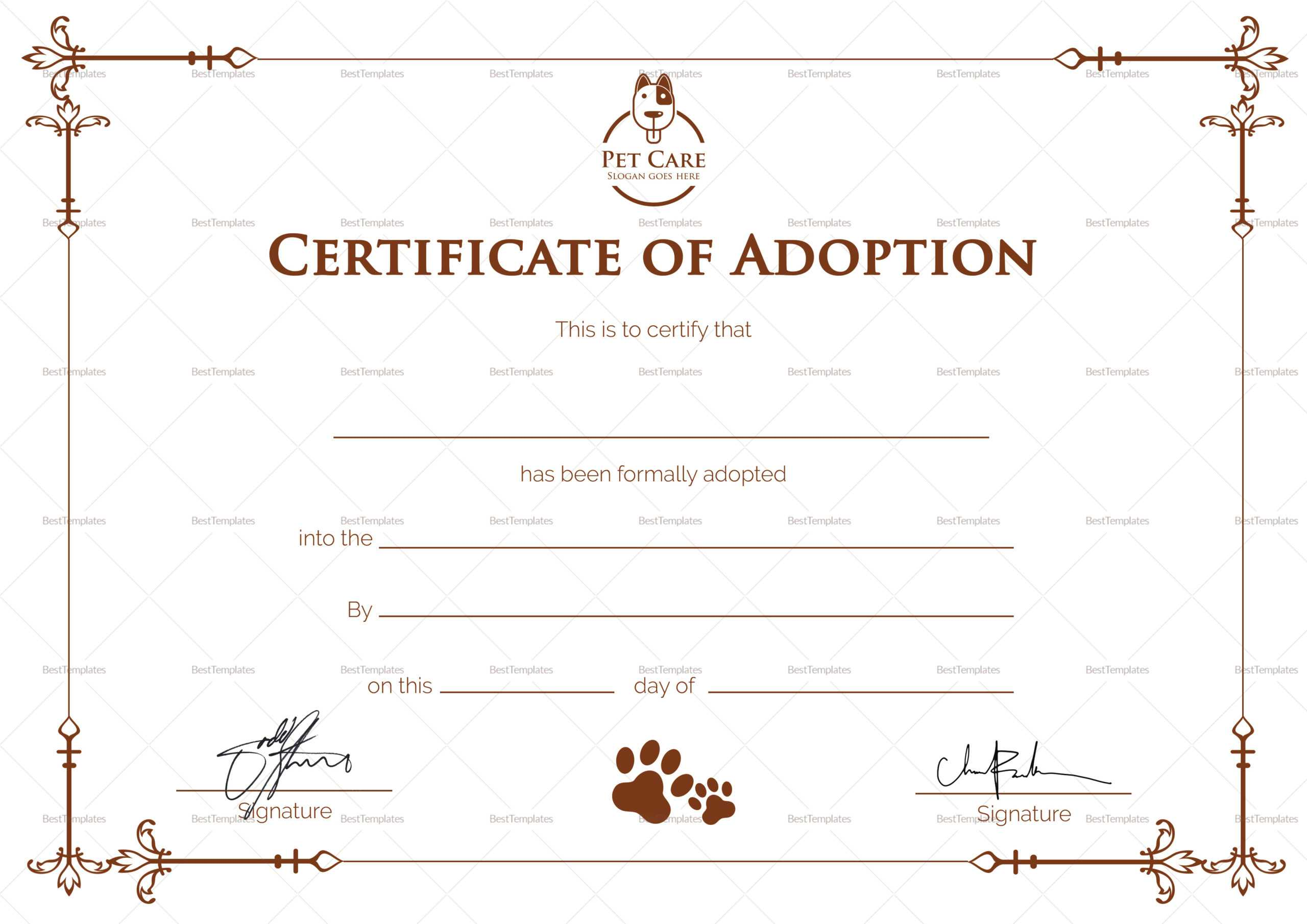 Certificate Of Adoption Template Inside Adoption Certificate Template