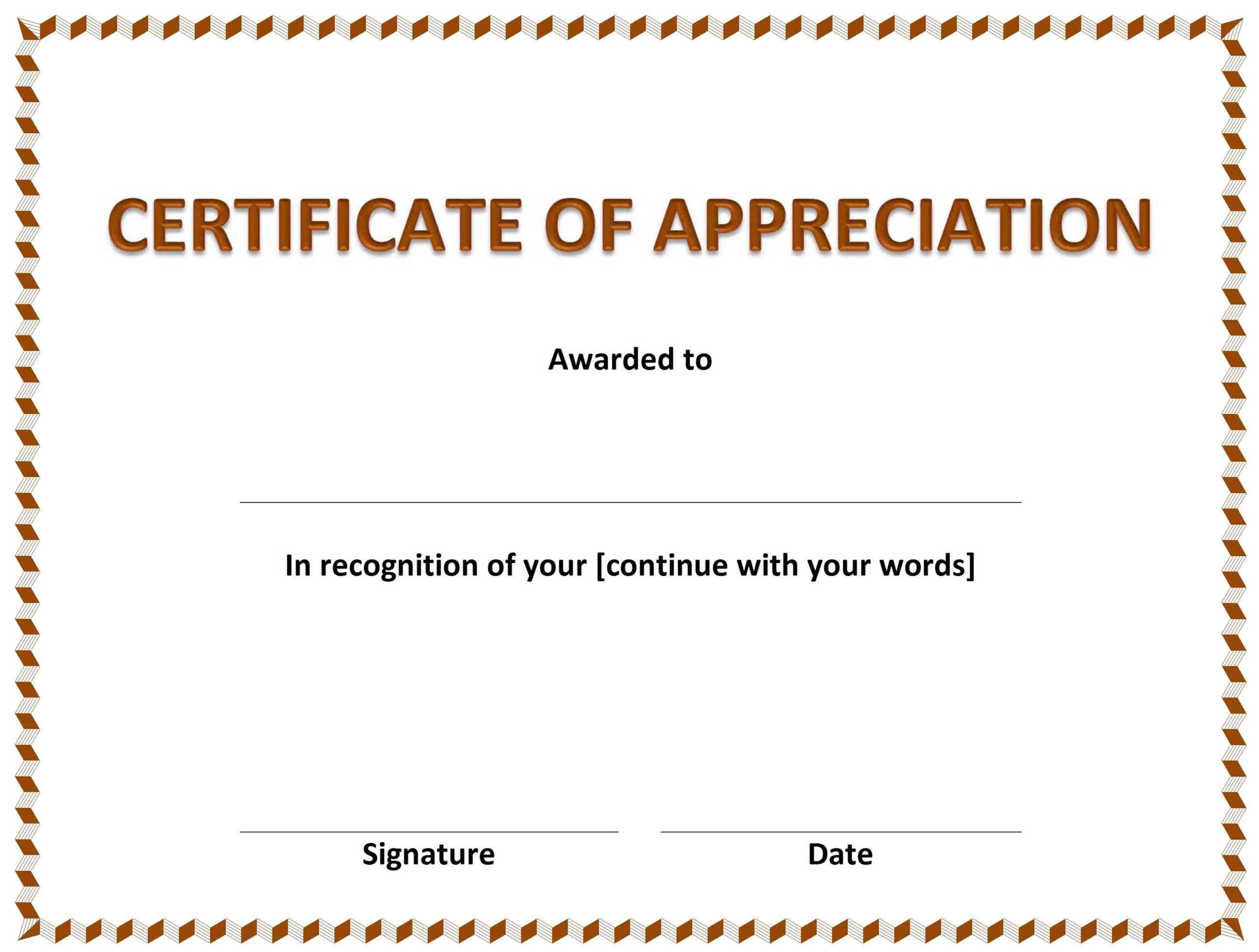 Certificate Of Appreciation » Officetemplates Regarding Template For Certificate Of Appreciation In Microsoft Word