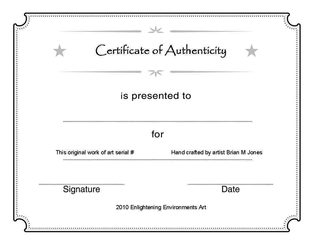 Certificate Of Authenticity Template Psd Word Artist Free With Regard To Photography Certificate Of Authenticity Template