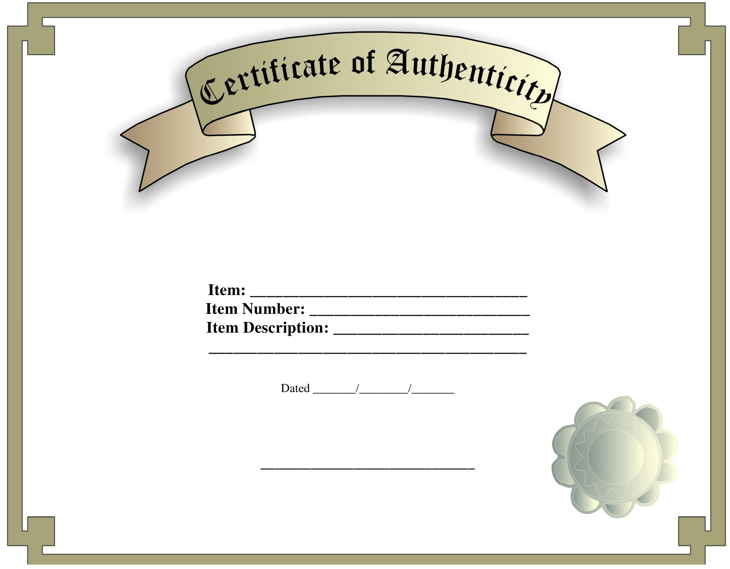 Certificate Of Authenticity Template | Templates At Inside Certificate Of Authenticity Template