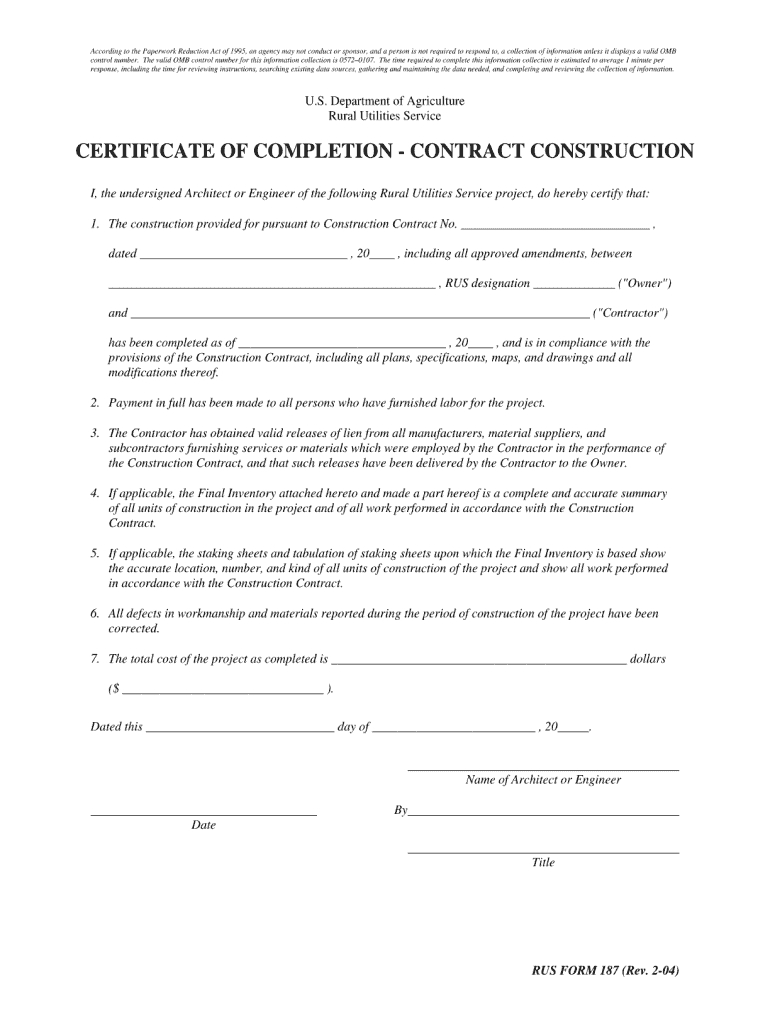 Certificate Of Completion Construction Pdf - Fill Online In Construction Certificate Of Completion Template