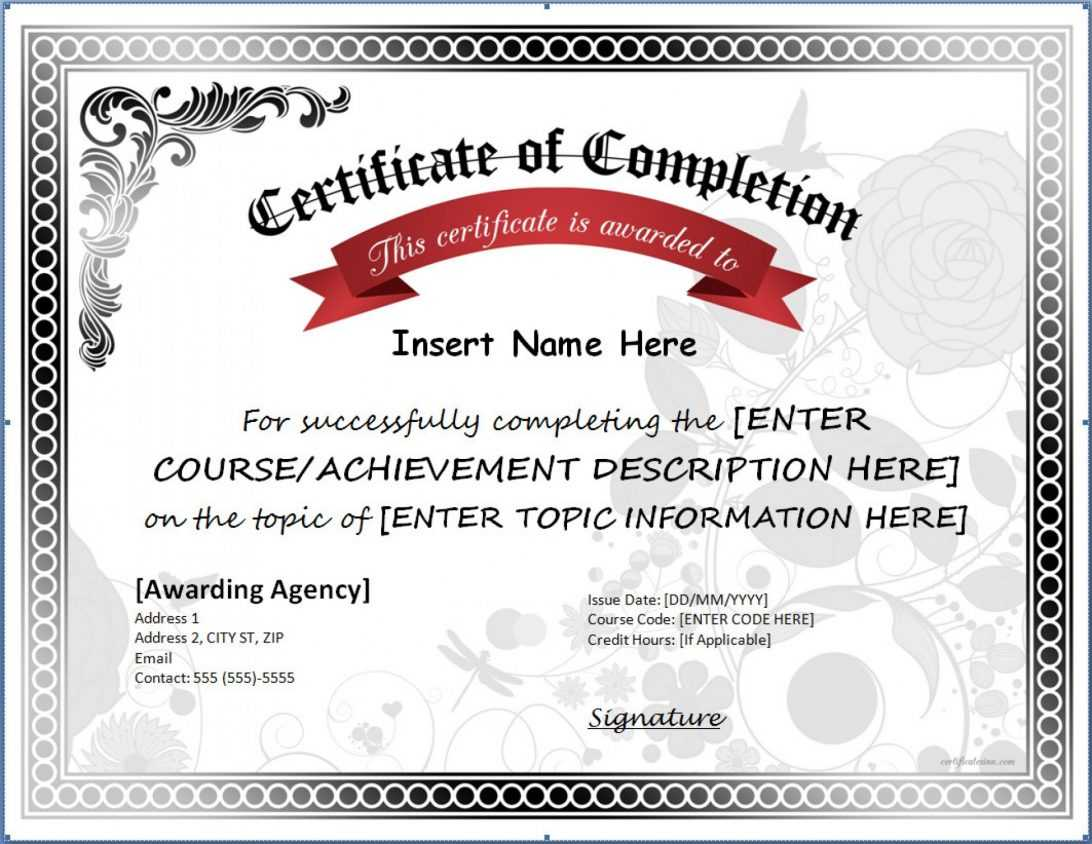 Certificate Of Completion Ojt Template Word Blank Training Regarding Certificate Of Completion Template Word