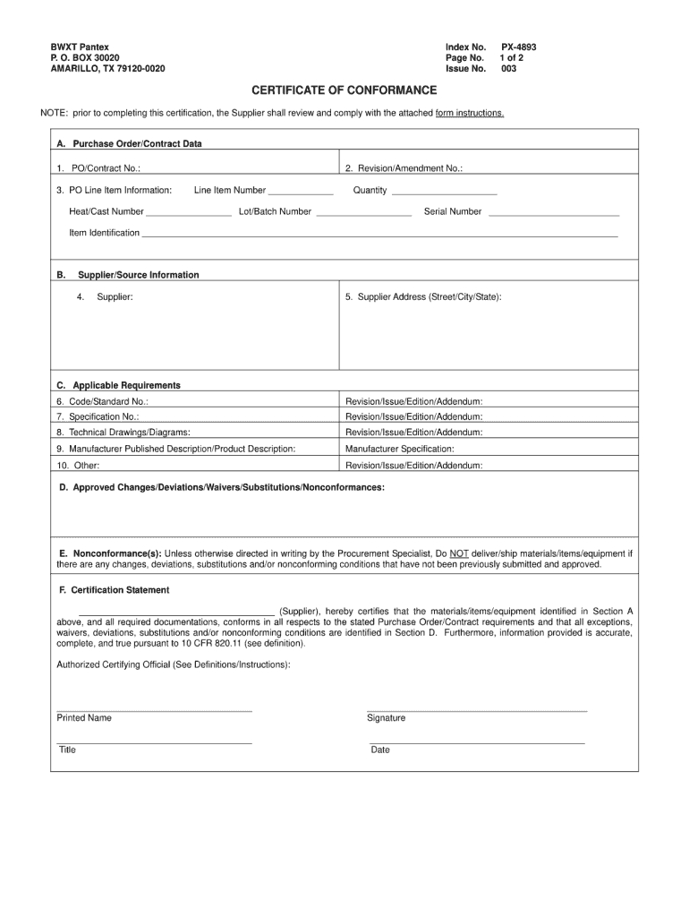 Certificate Of Conformance Template – Fill Online, Printable Regarding Certificate Of Manufacture Template