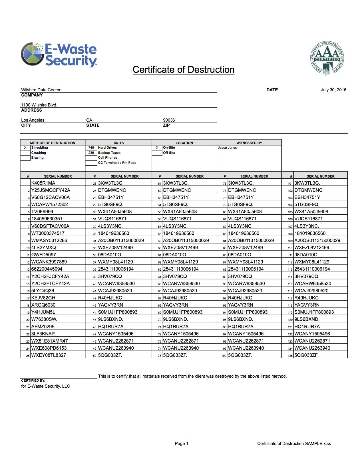 Certificate Of Destruction - Hard Drive Destruction - E Intended For Hard Drive Destruction Certificate Template