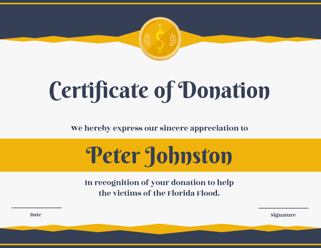 Certificate Of Donation Template With Donation Certificate Template
