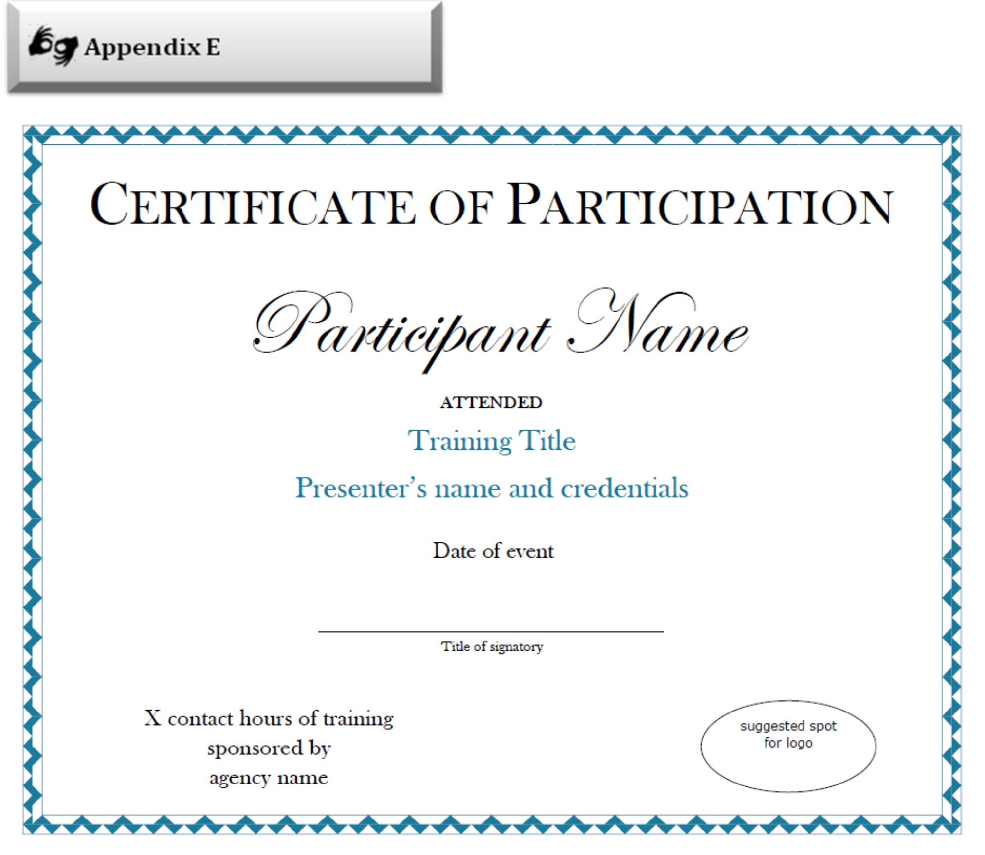 Certificate Of Participation Sample Free Download Intended For Sample Certificate Of Participation Template
