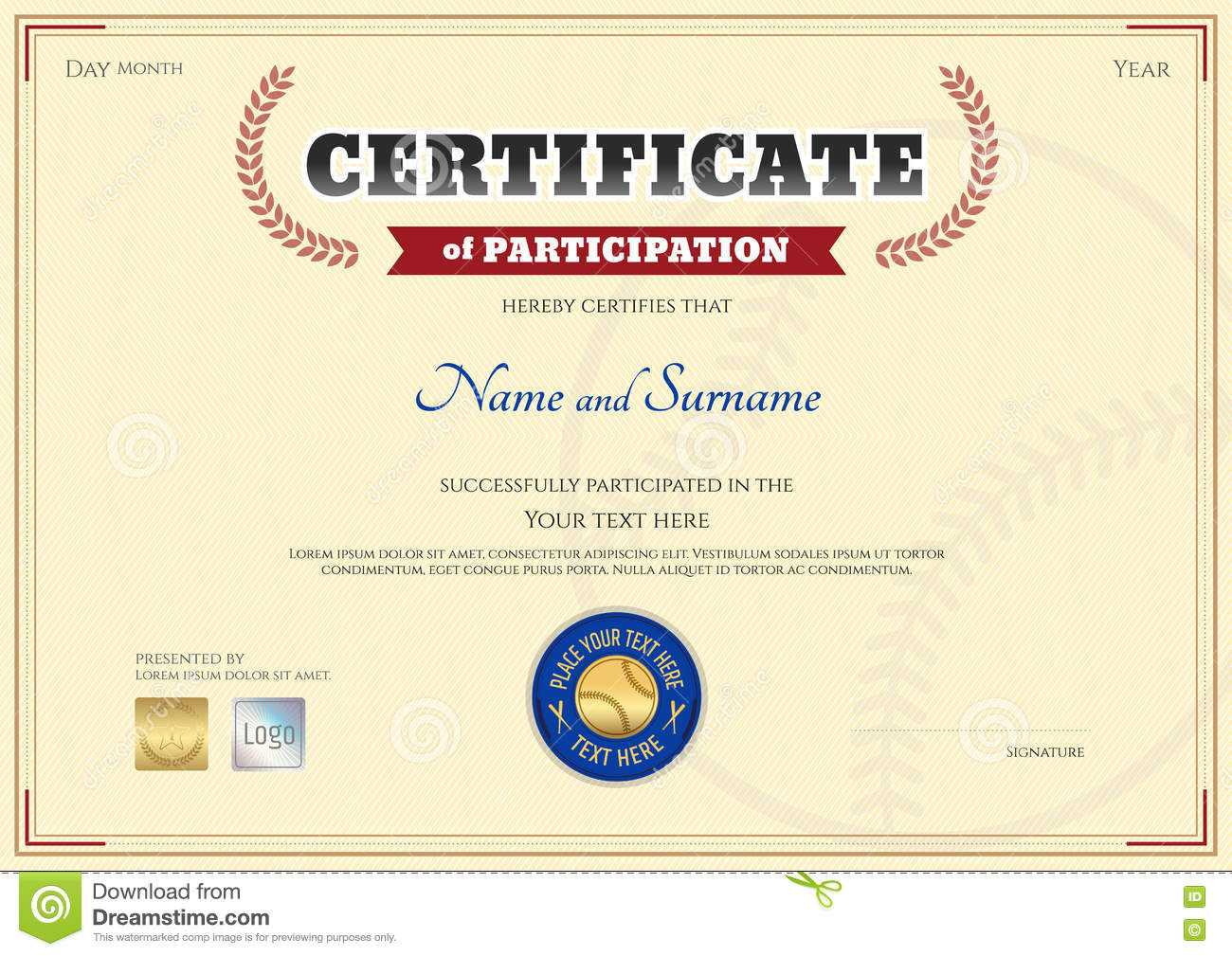 Certificate Of Participation Template In Baseball Sport Within Participation Certificate Templates Free Download