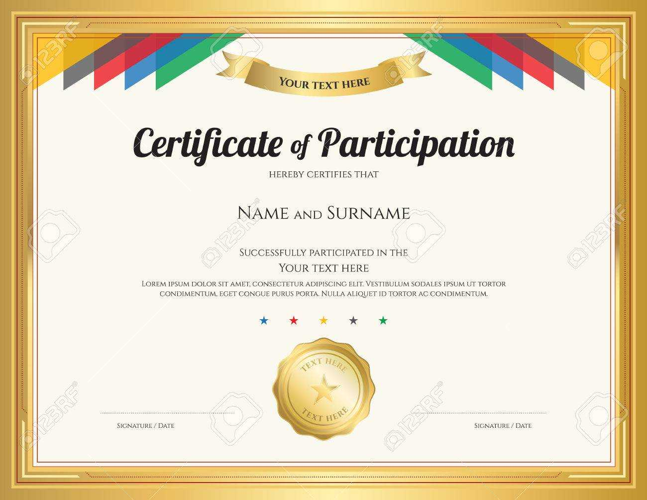 Certificate Of Participation Template With Gold Border And Colorful.. With Regard To Participation Certificate Templates Free Download