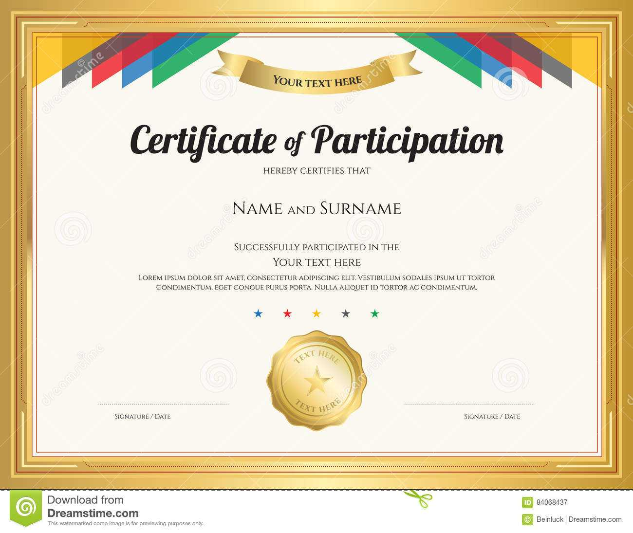 Certificate Of Participation Template With Gold Border Stock Pertaining To Sample Certificate Of Participation Template
