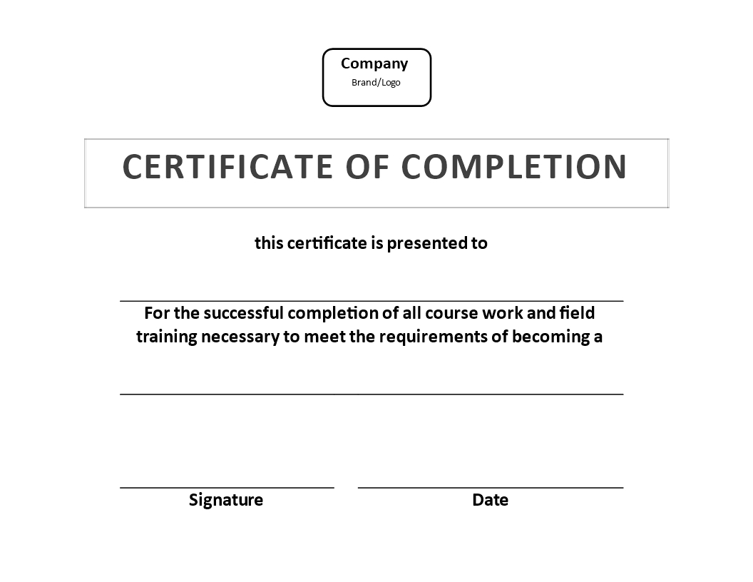 Certificate Of Training Completion Example | Templates At Regarding Certificate Of Appearance Template