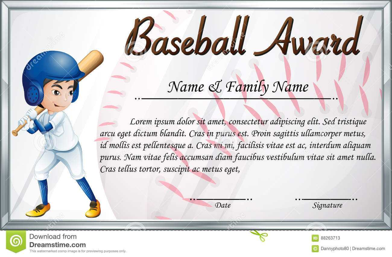 Certificate Template For Baseball Award With Baseball Player Intended For Softball Certificate Templates