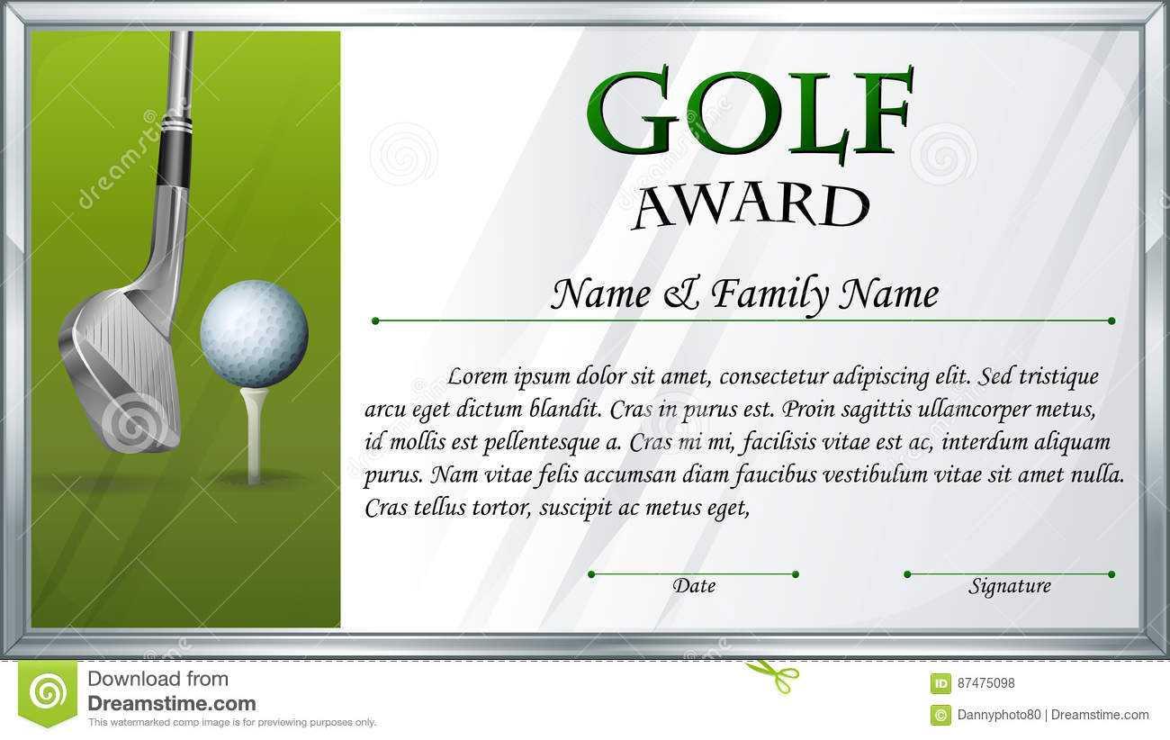 Certificate Template For Golf Award Stock Vector Intended For Golf Certificate Template Free