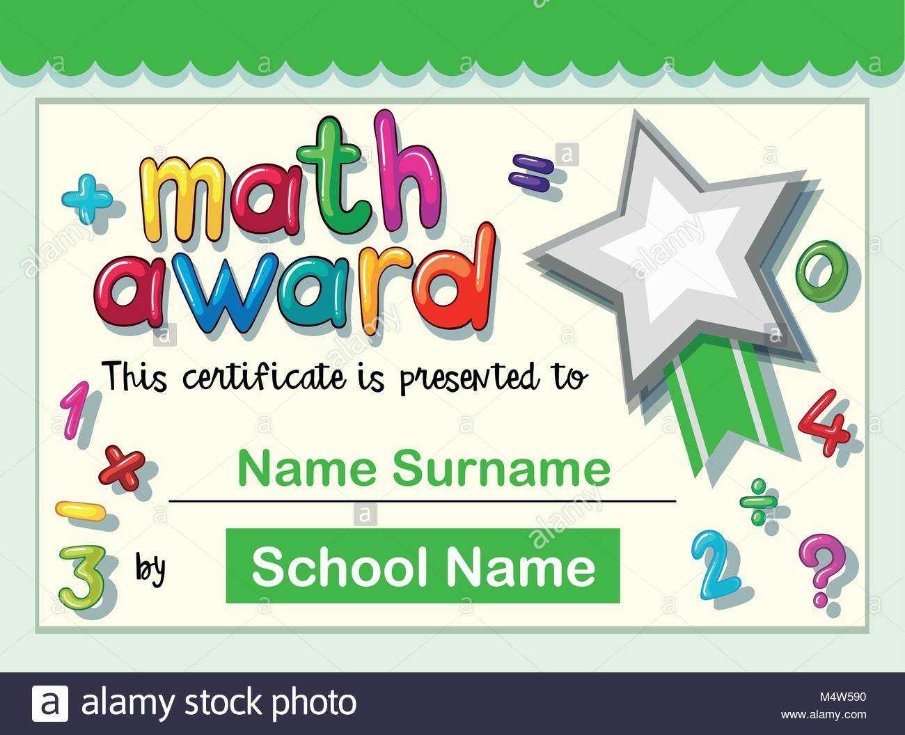Certificate Template For Math Award Illustration Stock Inside Math Certificate Template