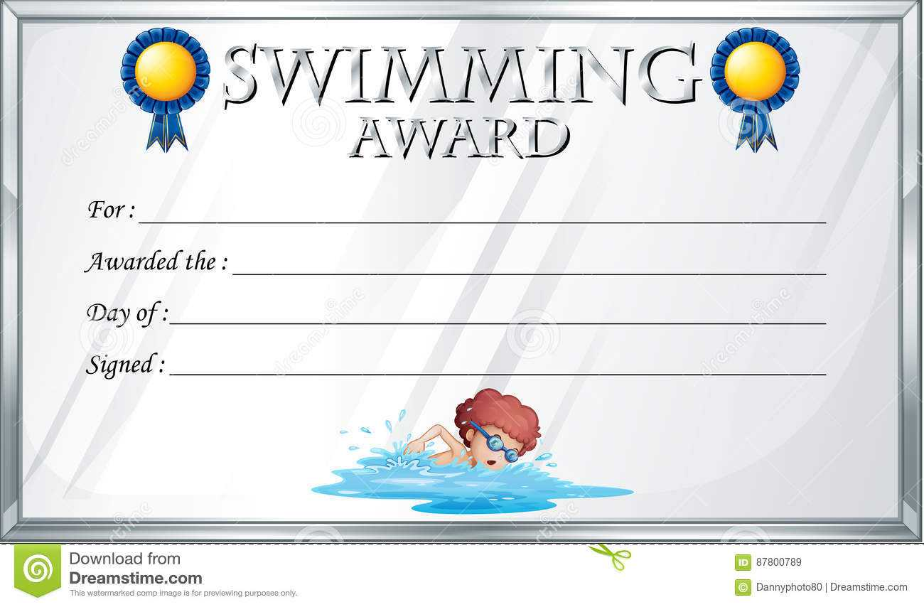 Certificate Template For Swimming Award Stock Vector Inside Swimming Award Certificate Template