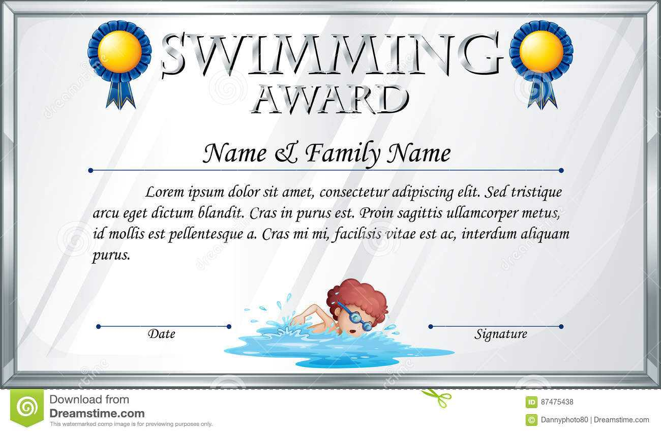 Certificate Template For Swimming Award Stock Vector Pertaining To Swimming Award Certificate Template