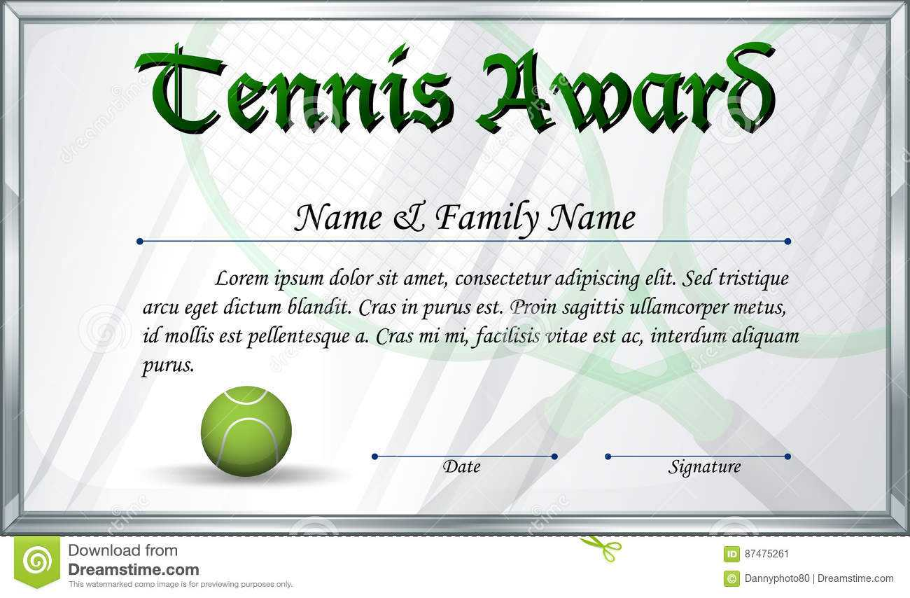 Certificate Template For Tennis Award Stock Vector With Regard To Tennis Certificate Template Free
