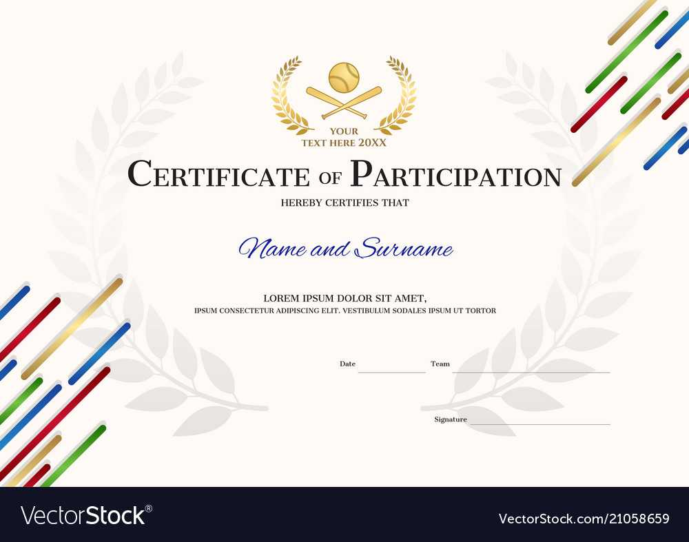 Certificate Template In Baseball Sport Theme With With Athletic Certificate Template