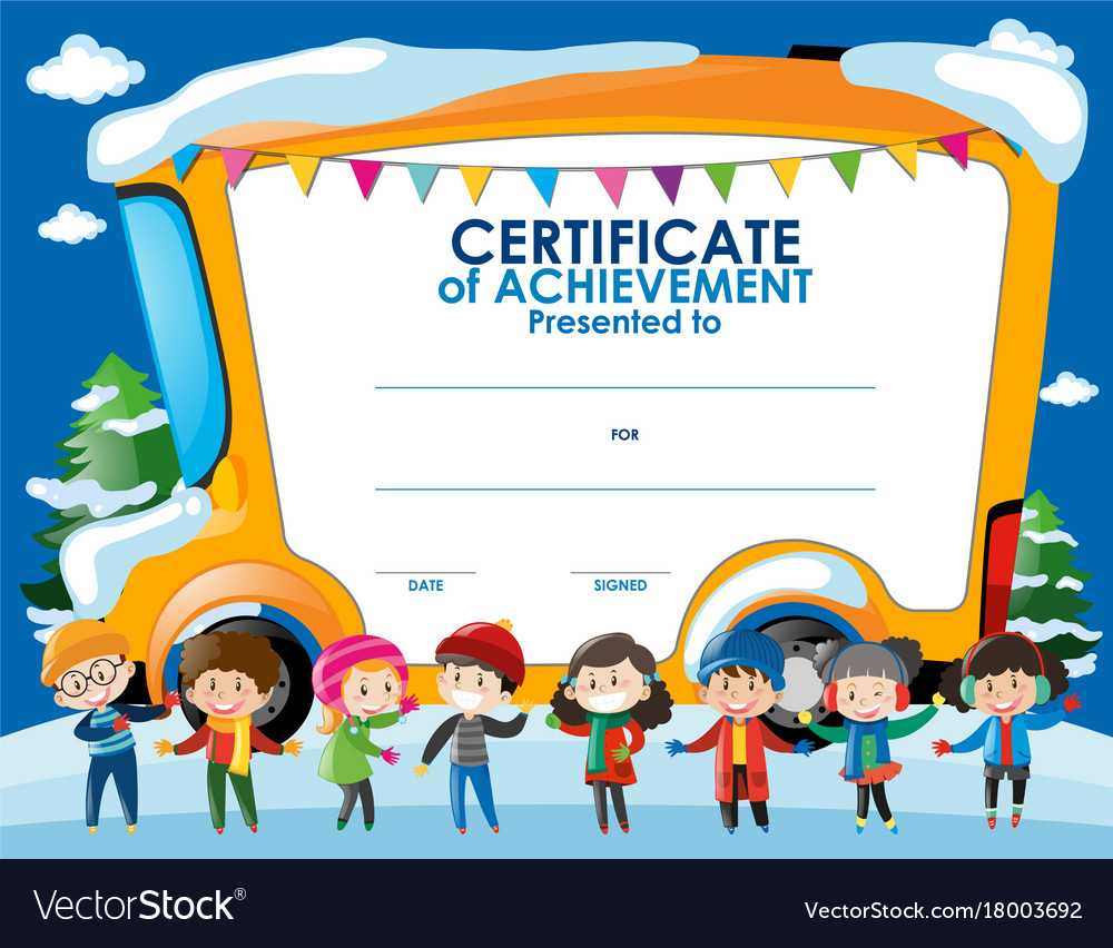 Certificate Template With Children In Winter Throughout Certificate Of Achievement Template For Kids