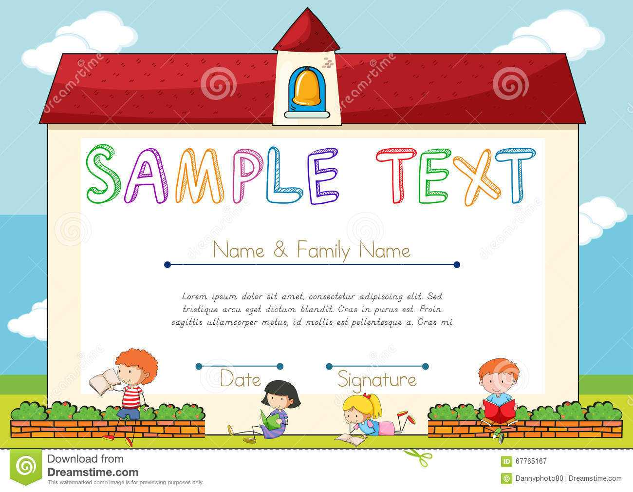 Certificate Template With Children On Background Stock In Small Certificate Template