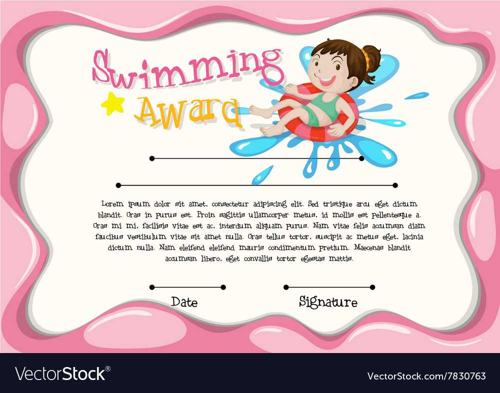 Certificate Template With Girl Swimming For Swimming Certificate Templates Free
