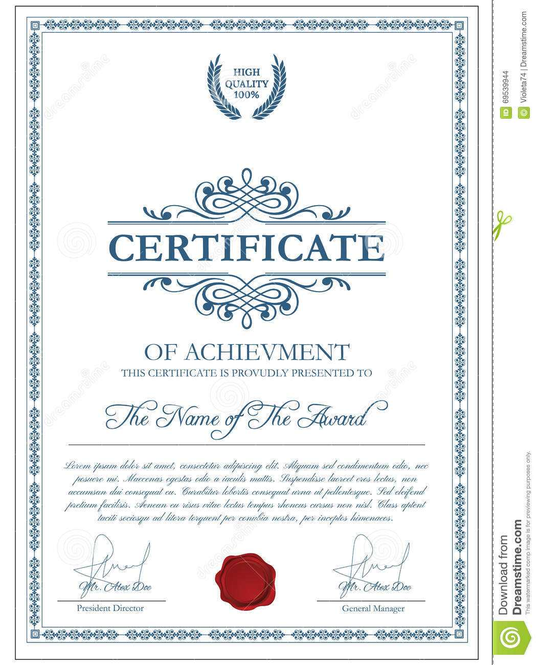 Certificate Template With Guilloche Elements. Stock Vector Within Validation Certificate Template