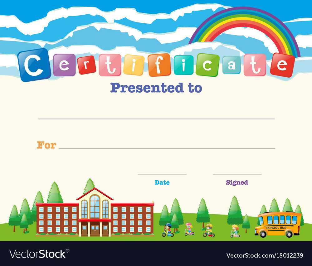 Certificate Template With Kids At School With Certificate Templates For School