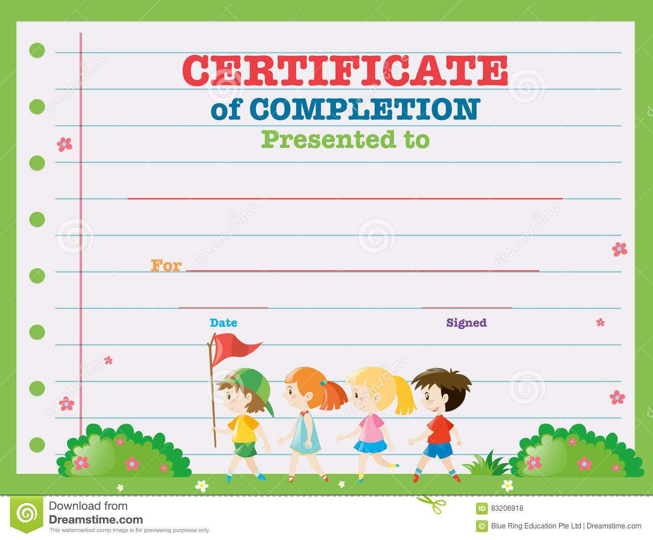 Certificate Template With Kids Walking In The Park Stock Inside Walking Certificate Templates