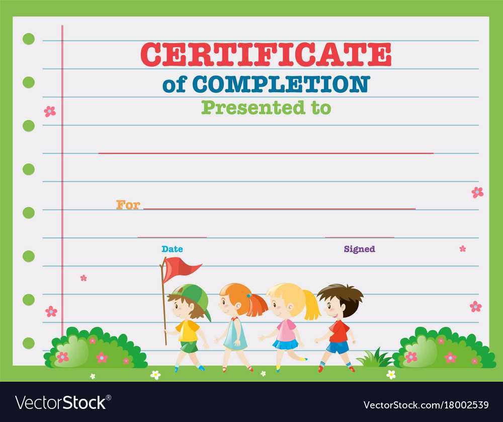 Certificate Template With Kids Walking In The Park With Regard To Walking Certificate Templates