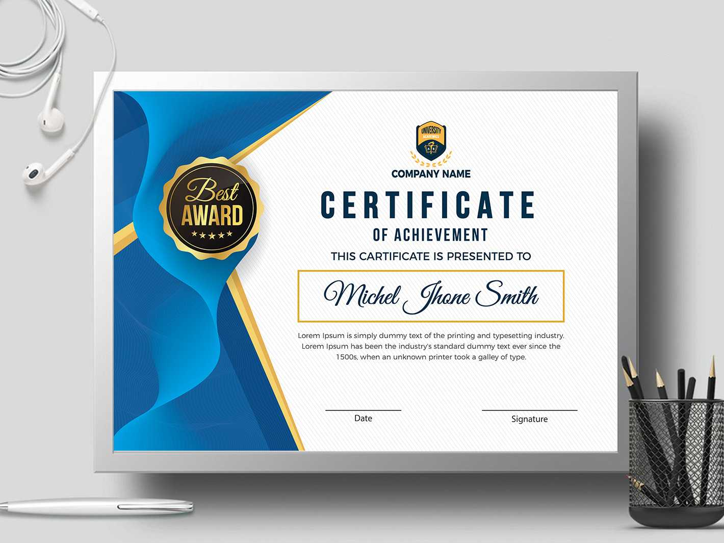 Certificate Templatecreative Touch On Dribbble With Landscape Certificate Templates