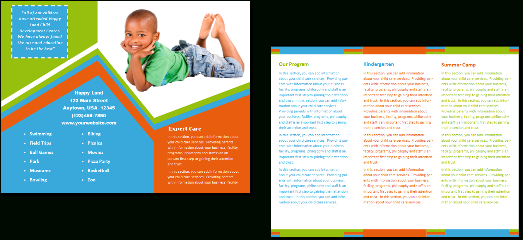 Child Care Brochure Template 26 With Regard To Daycare Brochure Template