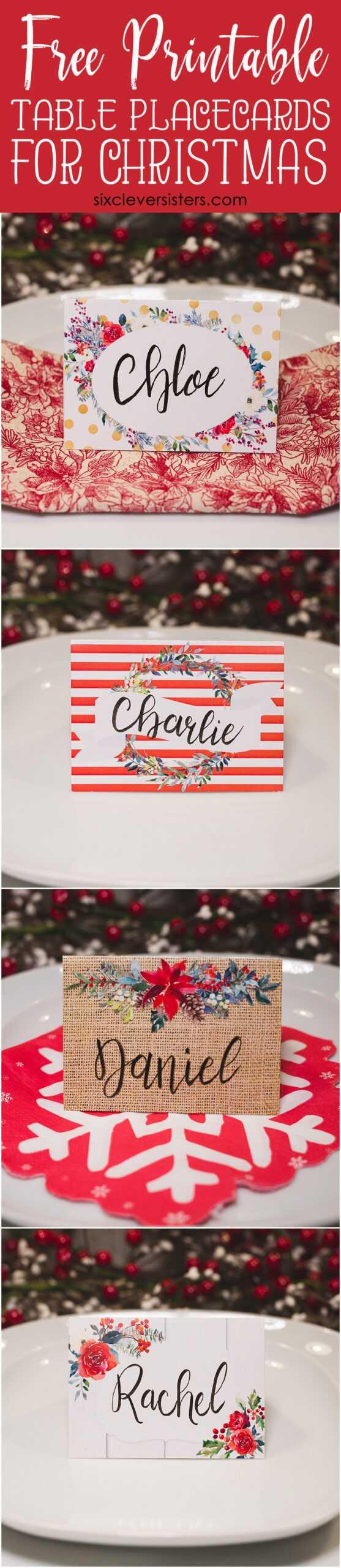 Christmas Table Place Cards { Free Printable} – Six Clever With Christmas Table Place Cards Template