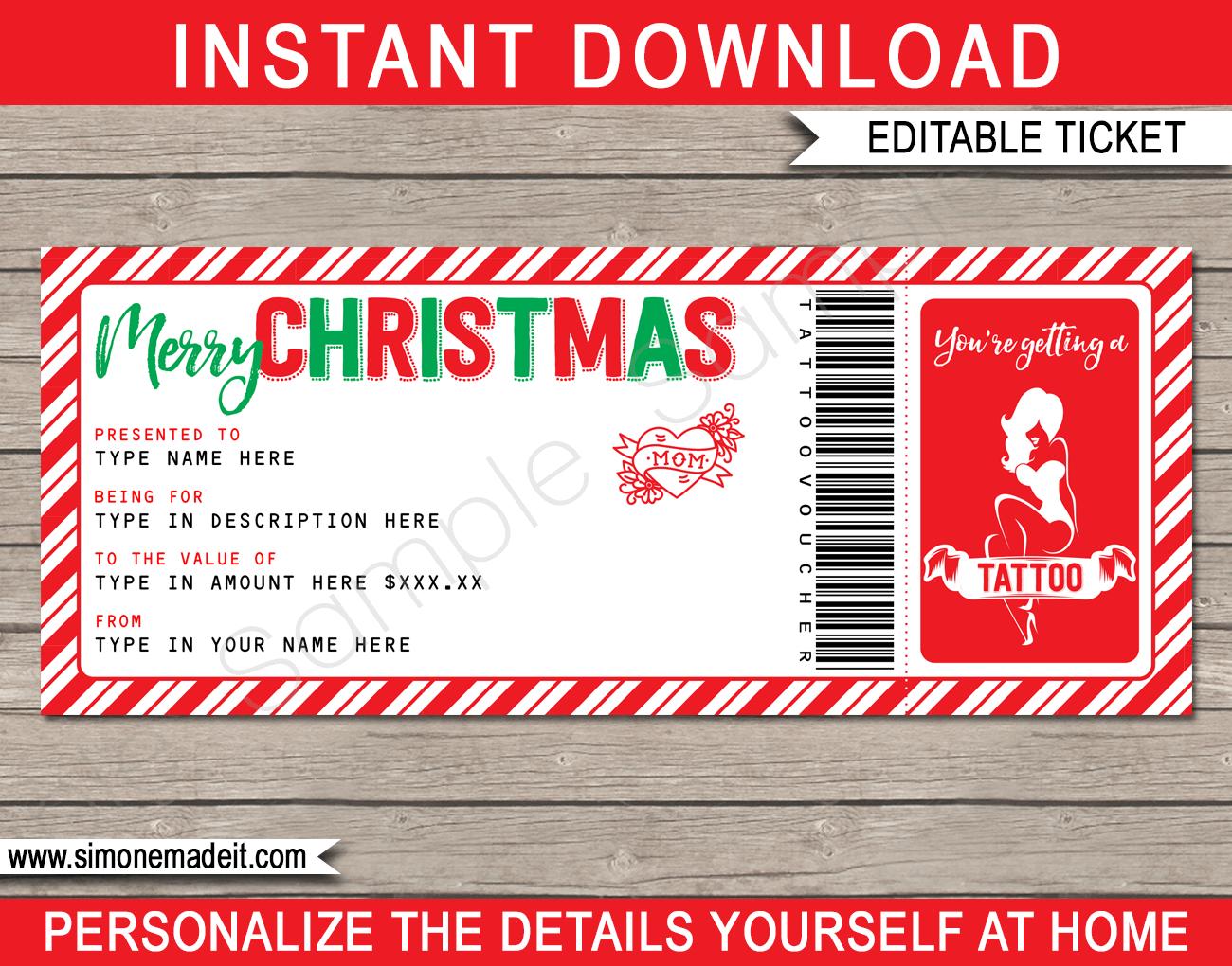 Christmas Tattoo Gift Vouchers Inside Tattoo Gift Certificate Template