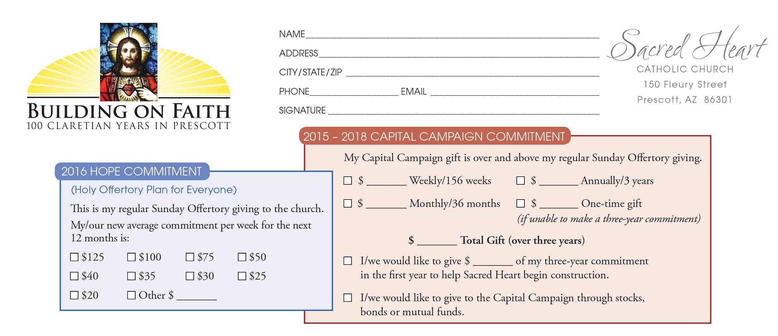 Church Capital Campaign Pledge Card Samples Regarding Pledge Card Template For Church