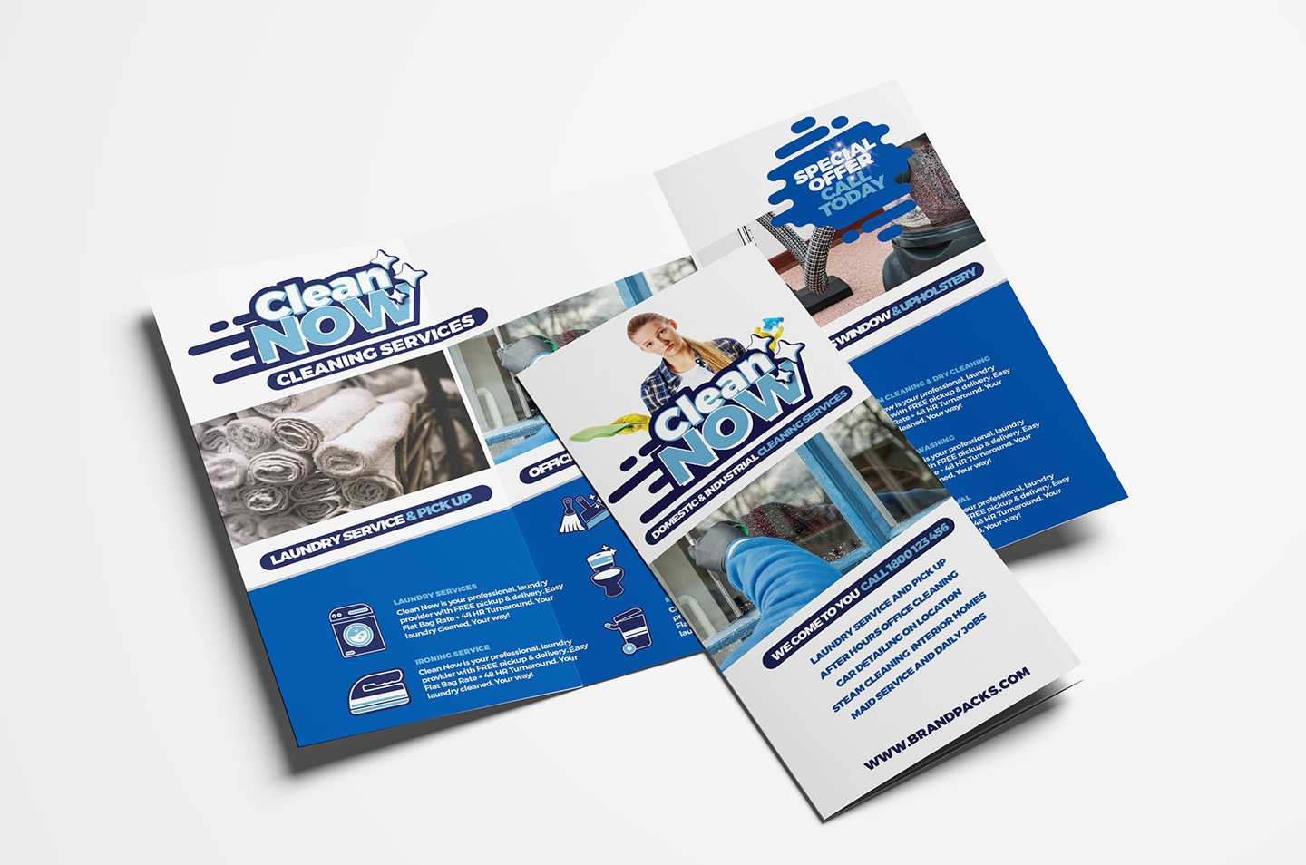 Cleaning Service Trifold Brochure Template In Psd, Ai For Cleaning Brochure Templates Free