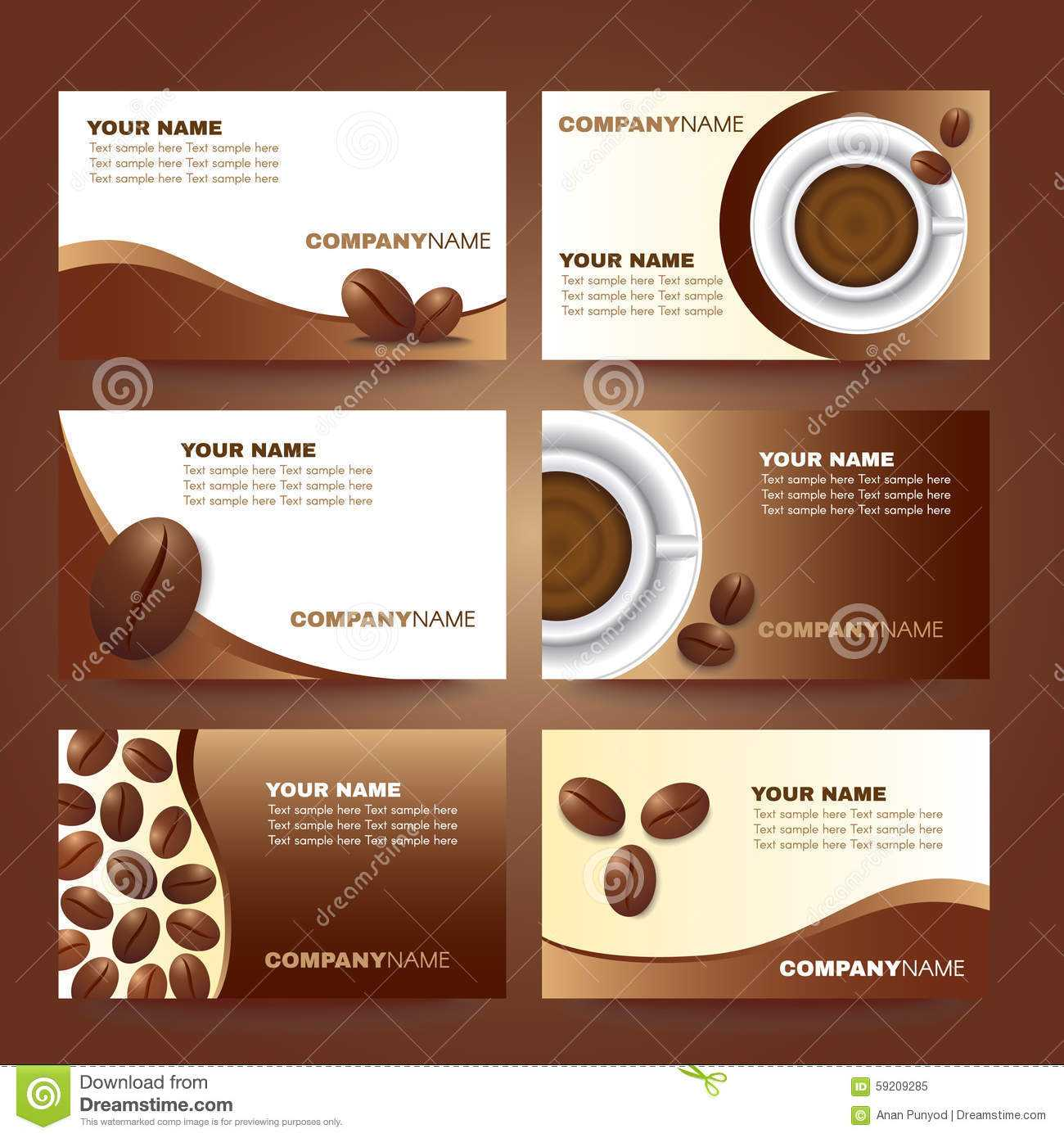 Coffee Business Card Template Vector Set Design Stock Vector With Regard To Coffee Business Card Template Free