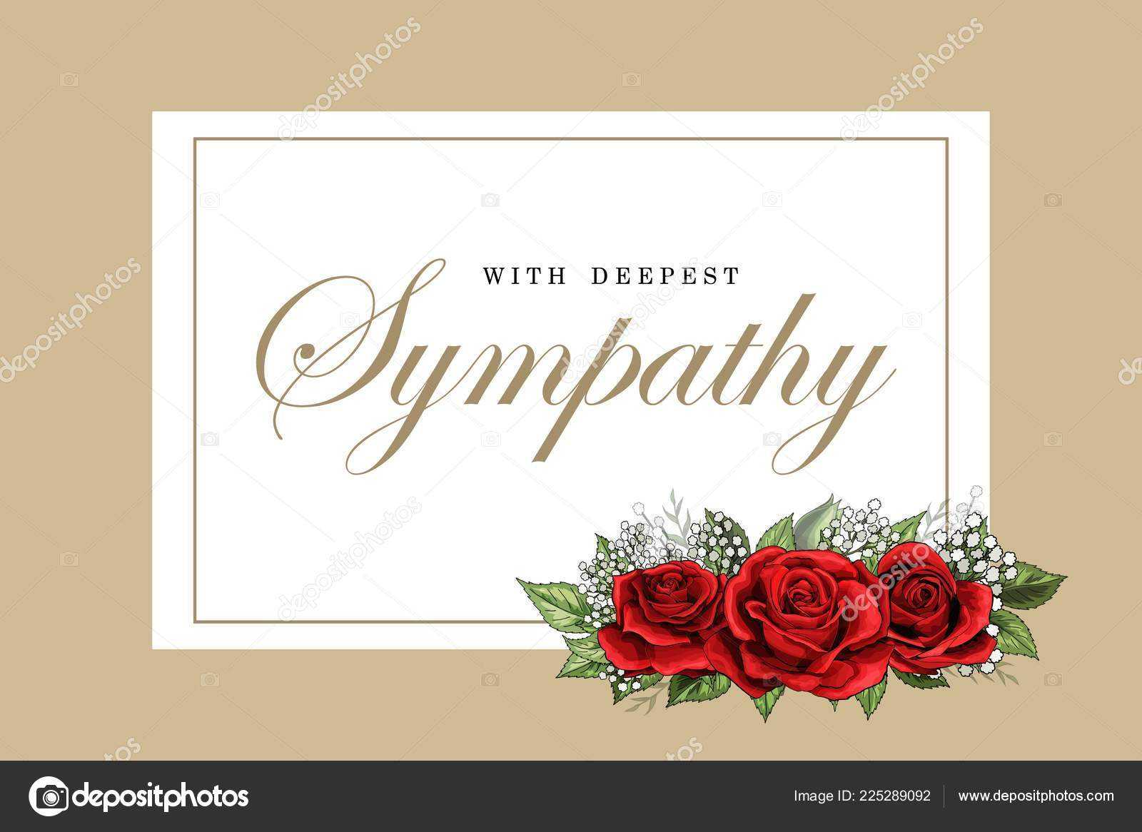 Condolences Sympathy Card Floral Red Roses Bouquet Golden With Sympathy Card Template