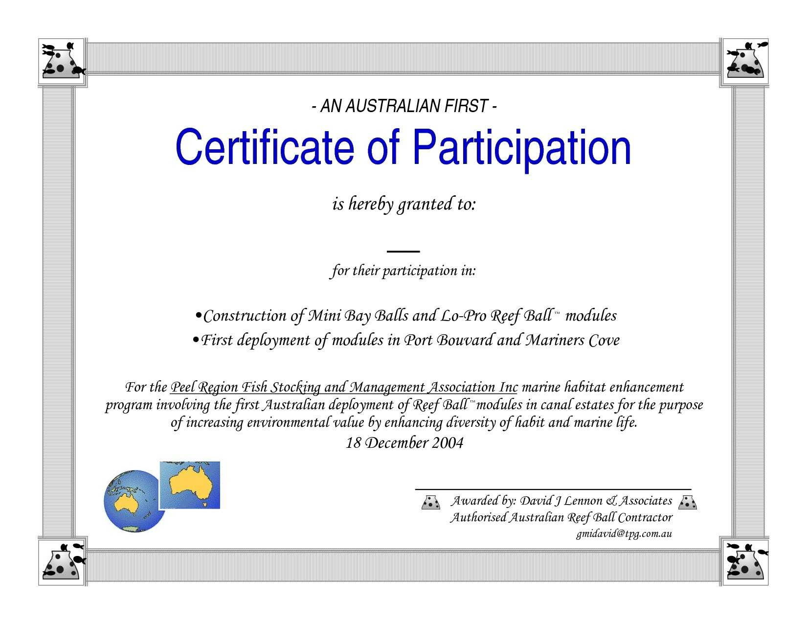 Conference Certificate Of Participation Template – Tunu Pertaining To Certificate Of Participation Template Doc