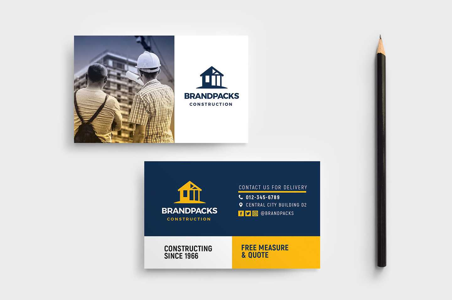 Construction Company Business Card Template In Psd, Ai For Construction Business Card Templates Download Free