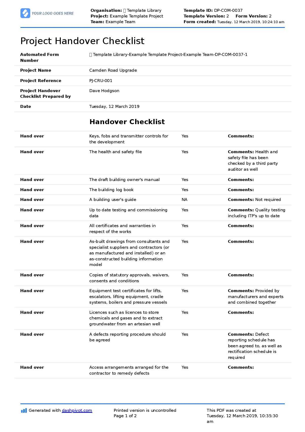 Construction Project Handover Checklist Template (Better With Handover Certificate Template